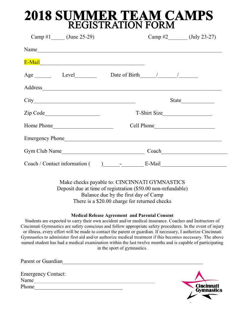 2018 summer team camps registration form cincinnati for Sport registration form template